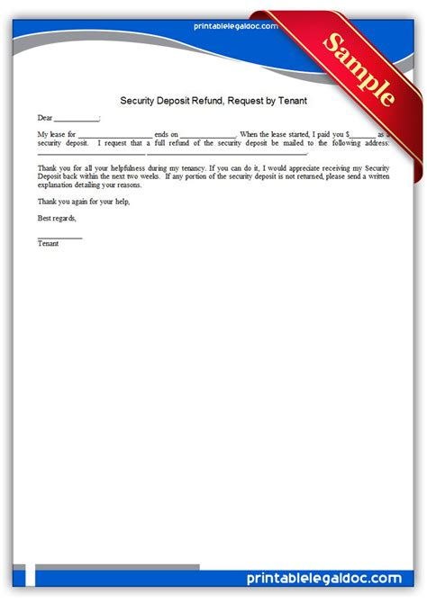 Sle Letter Requesting Rent Deposit Back Free Printable Security Deposit Refund Request By Tenant Form Generic