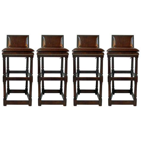 Bar Stools With Backs Set Of 4 leather seat bar stools with backs set of 4 at 1stdibs