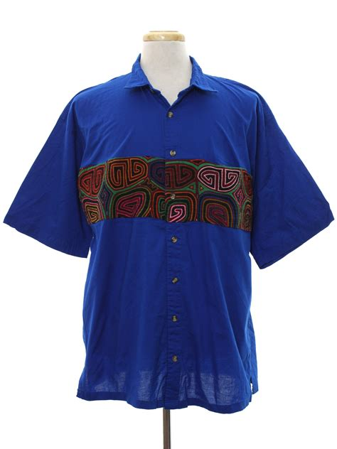 Panama Sleeves Shirt 1980s vintage shirt 80s my name is panama mens royal blue background cotton sleeve