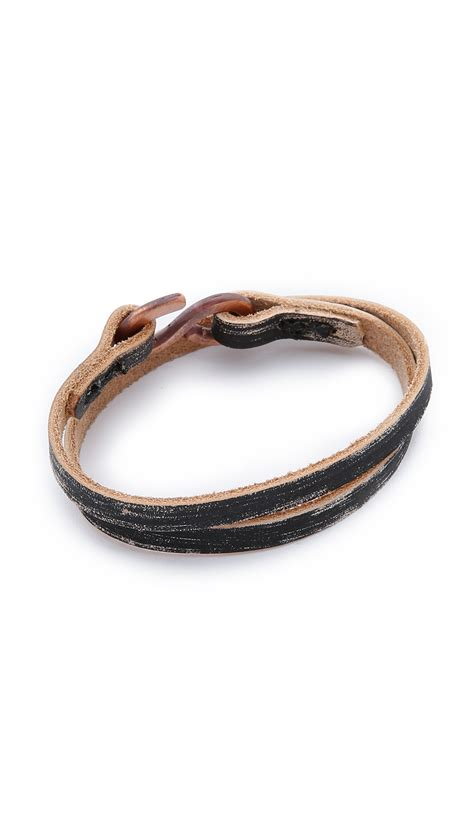 cause and effect brushed leather wrap bracelet in black