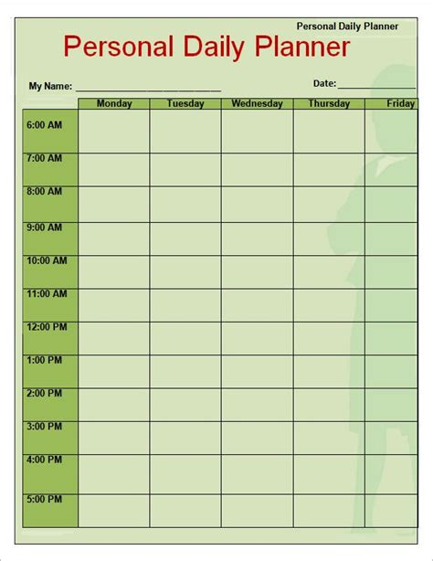 Free Weekly Planner Templates Free Printables Word Excel Planner Template Weekly