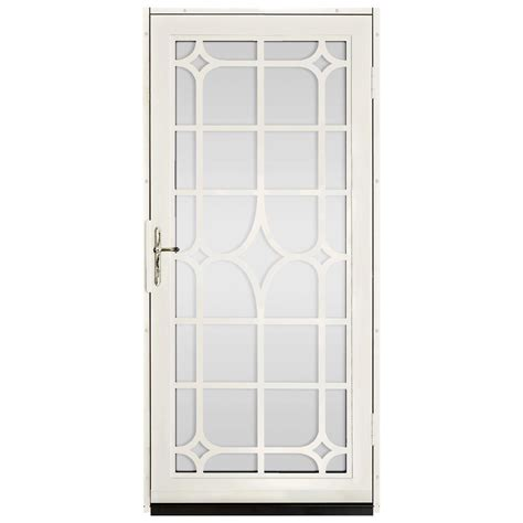 Glass Security Door Unique Home Designs 36 In X 80 In Almond Surface Mount Steel Security Door With
