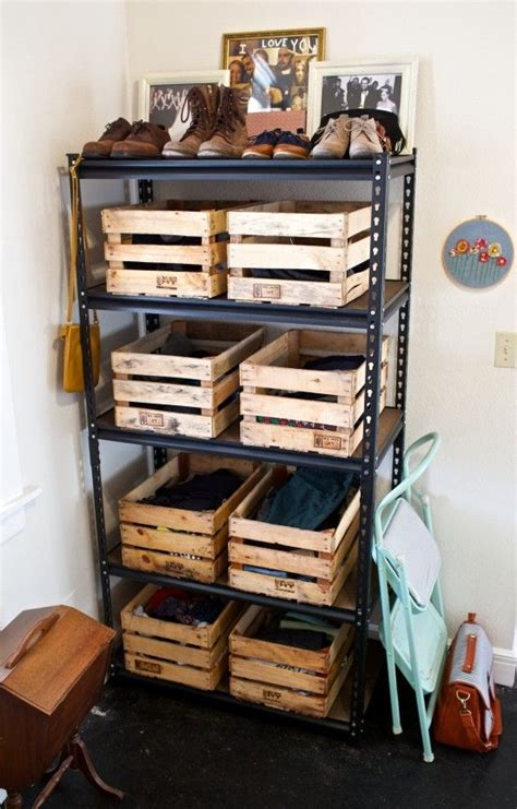 wood crate storage ideas     organized