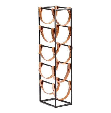 leather wine rack tall brighton rustic farmhouse iron leather wine rack