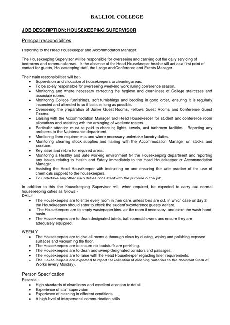 doc 12751650 housekeeper duties house keeper duties housekeeping description for resume
