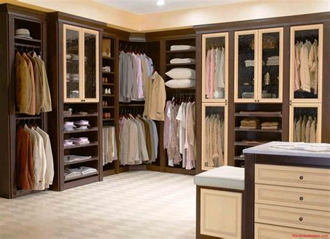 design closet scenic l shape walk in closet design with brown finished