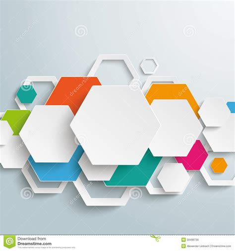 photo layout vector infographic colored paper hexagons line piad stock vector