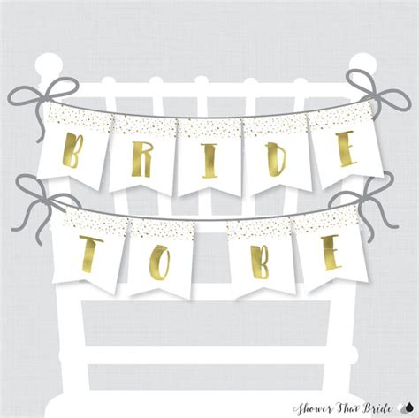 printable banner bridal shower printable bridal shower chair banner white and gold