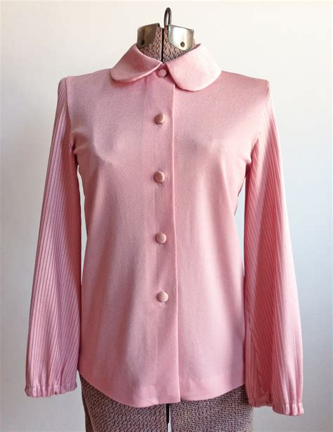 Pleated Collar Blouse vintage pink blouse pleated pan collar vintage logic