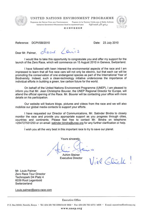 Support Event Letter Letter Of Support From Achim Steiner