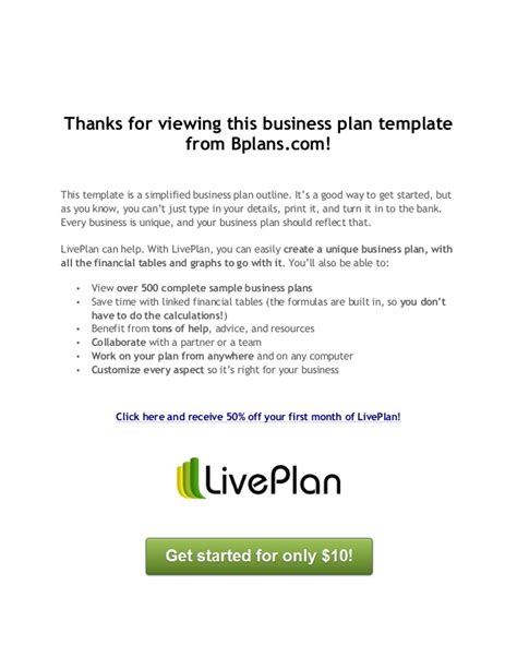 bplans business plan template business plan template free on bplans