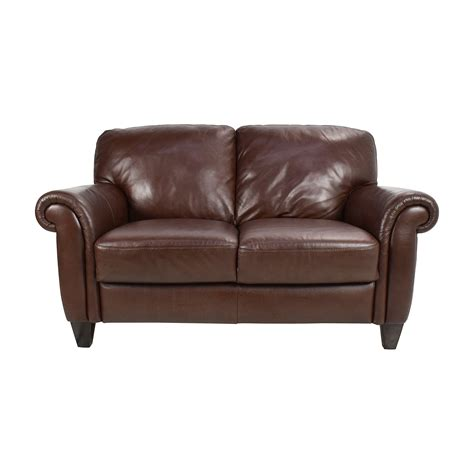 second hand brown leather sofa 50 off brown roll arm leather loveseat sofas