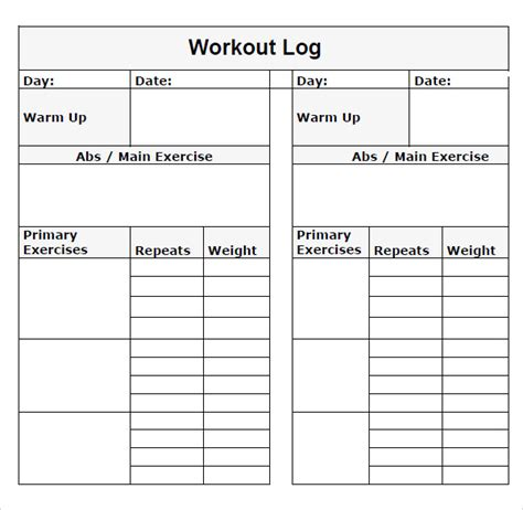 workout diary template workout log template pdf