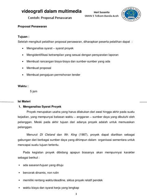 Membuat Proposal Tender | contoh proposal penawaran