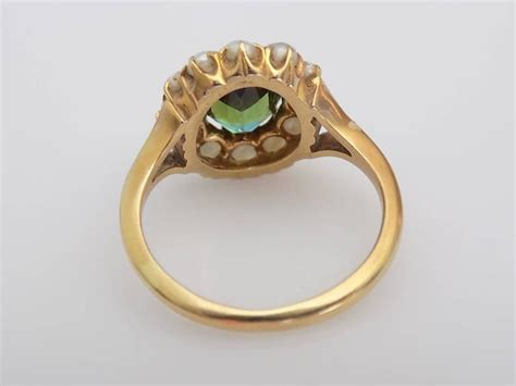 antique green tourmaline seed pearl gold ring