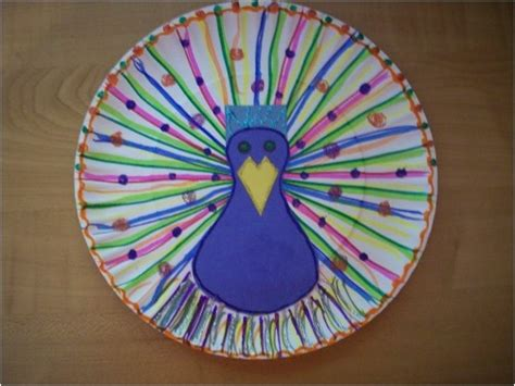 Peacock Paper Plate Craft - paper plate peacock india and crafts for