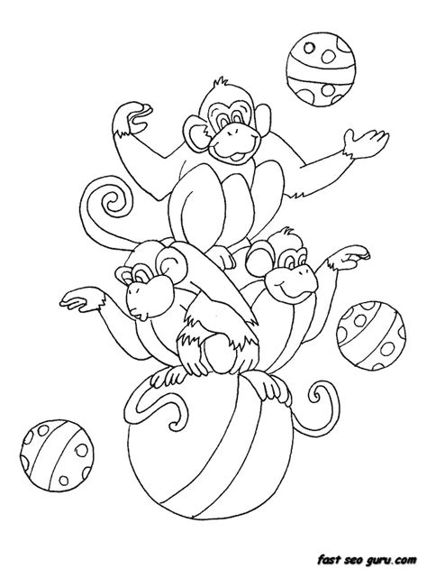 Circus Monkey Coloring Pages | printable circus monkeys coloring pages