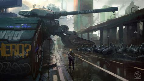 artwork concept art futuristic science fiction tank