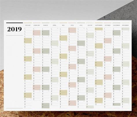 printable   landscape wall planner  large full year calendar yearly calendar
