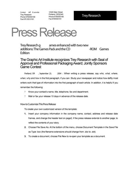 46 Press Release Format Templates Exles Sles Template Lab News Release Template Free