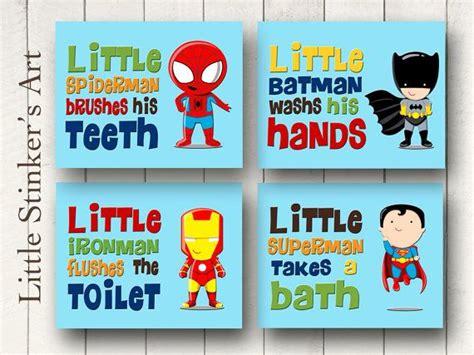 marvel superhero bathroom accessories superhero wall art bathroom decor boy s wall by littlestinkersart 52 marvel super