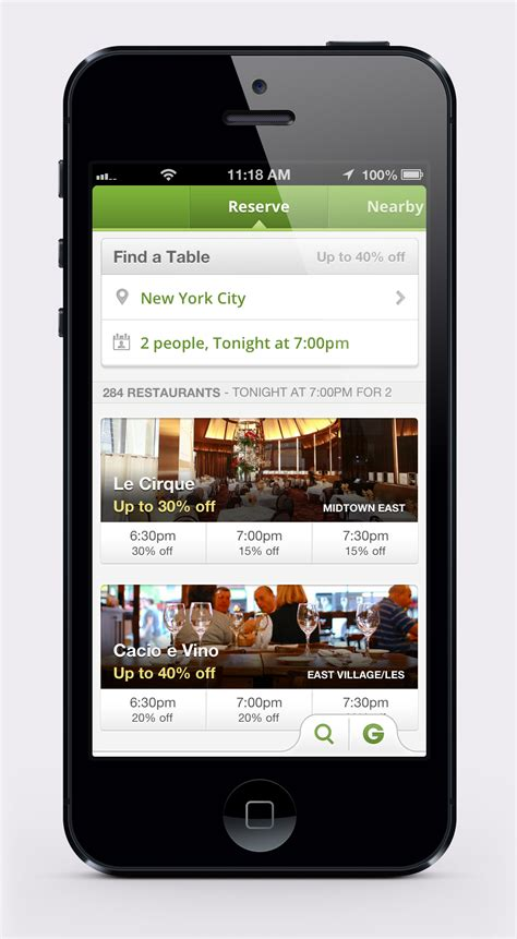 groupon mobil groupon goes mobile with its reserve restaurant