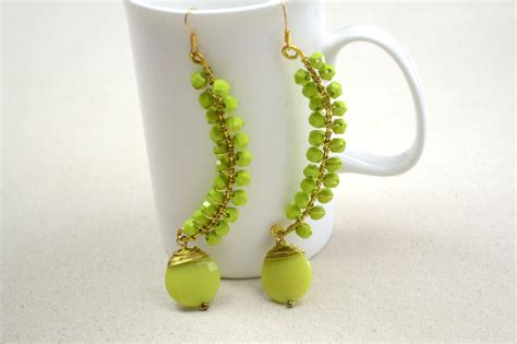 bead earrings how to make green wire bead earrings