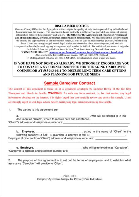 caregiver agreement template what constitutes a contract