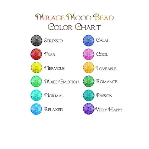 colors for mood mood ring color chart