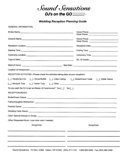 Wedding Planning Reception by Wedding Reception Dj Checklist Pdf Mini Bridal