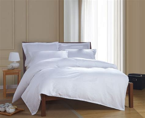 bedroom linen sets 100 cotton simple satin strip white hotel bedding sets