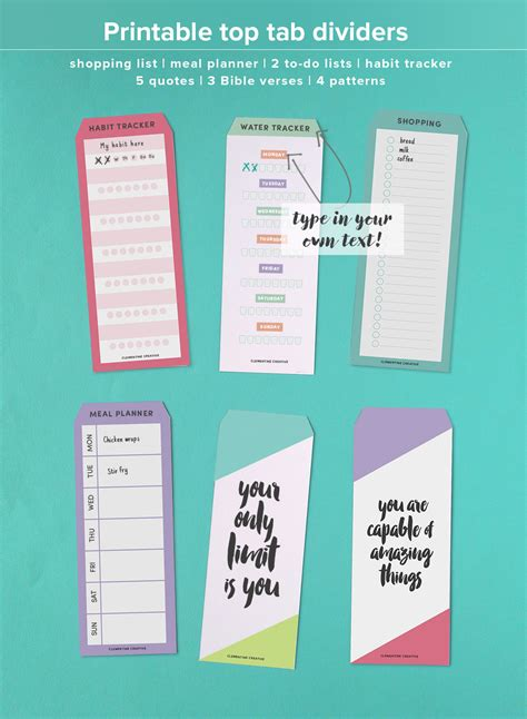 printable greeting card dividers printable top tab dividers for planners diaries and agendas