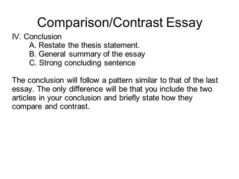 Thesis Exles For Compare And Contrast Essay by Writing Portfolio With Mr Butner Ppt