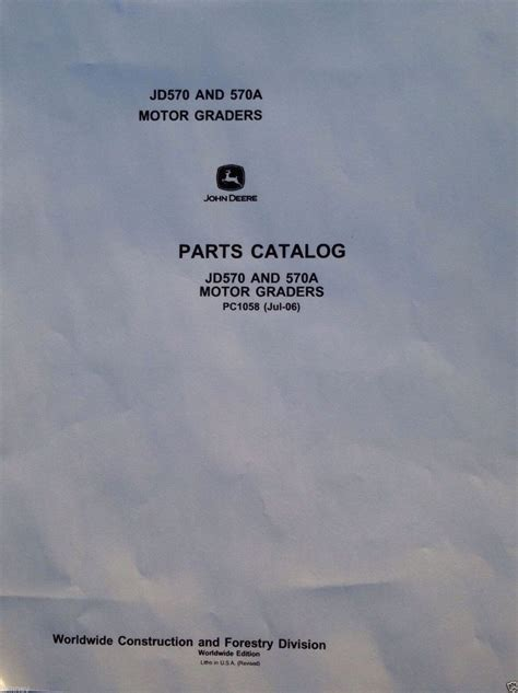 john deere jd   motor grader parts manual catalog book pc finney equipment  parts