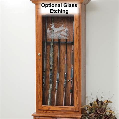 wood gun cabinet with etched glass deer creek 6 gun cabinet amish made gun cabinet