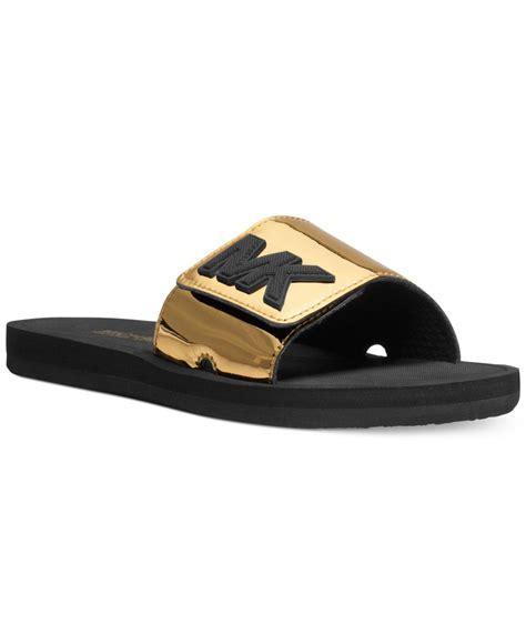 michael kor slippers michael kors michael mk shower slide sandals in gold lyst