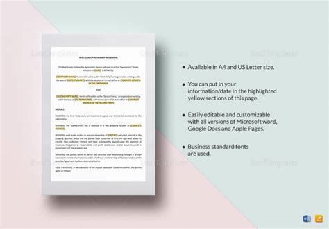 real estate templates for apple pages contractor agreement template 18 free word pdf