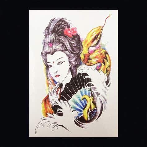 geisha tattoo vrouw xl tattoos vrouwfiguren kleur faketattoo nl