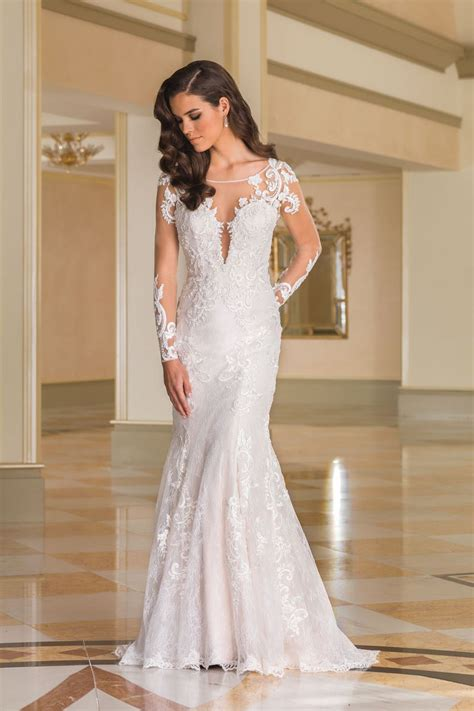 Lace Bridal Gowns by Style 8870 Lace Fit And Flare Bridal Gown With Sheer Lace