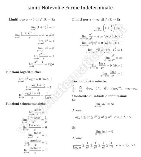tavola limiti notevoli tabella limiti notevoli e forme indeterminate μatematicaθk