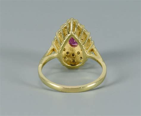 Lot Ruby lot 491 18k pear shaped ruby and ring
