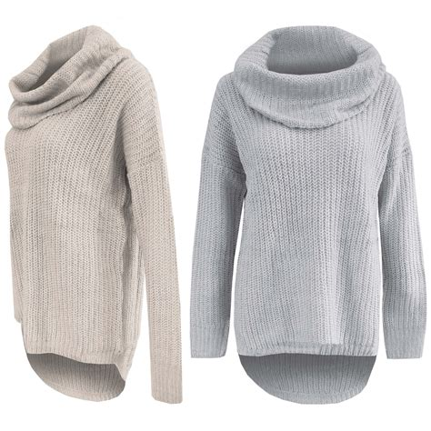 chunky knit jumper womens new cowl neck chunky knit jumper polo hilo