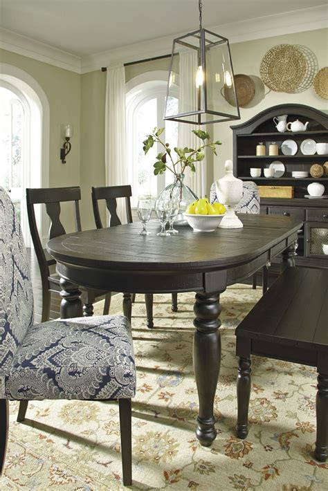 sharlowe dining room table sharlowe charcoal rectangular extendable dining room set