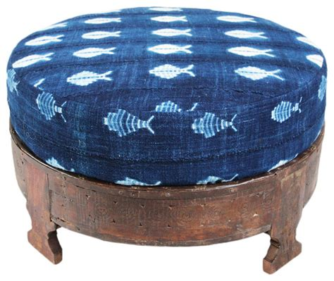 Tropical Ottoman Grinder Stool Mudcloth Ottoman Tropical Footstools And Ottomans By Design Mix Furniture