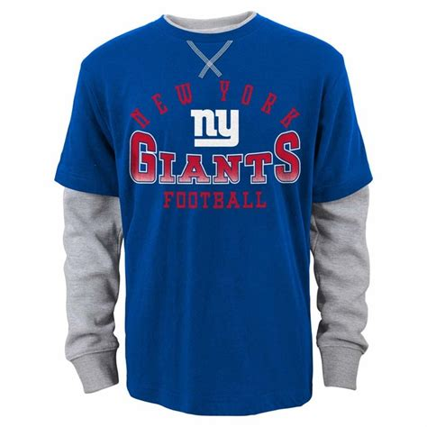 ny giants table l york giants youth arched fade l s faux layer thermal