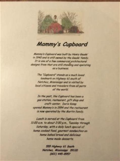 The Cupboard Menu Victory Vision At Mammy S Picture Of Mammy S Cupboard