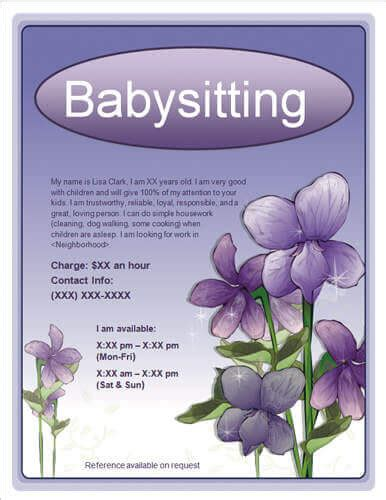 Babysitting Quotes For Flyers Quotesgram Babysitting Flyer Template Free