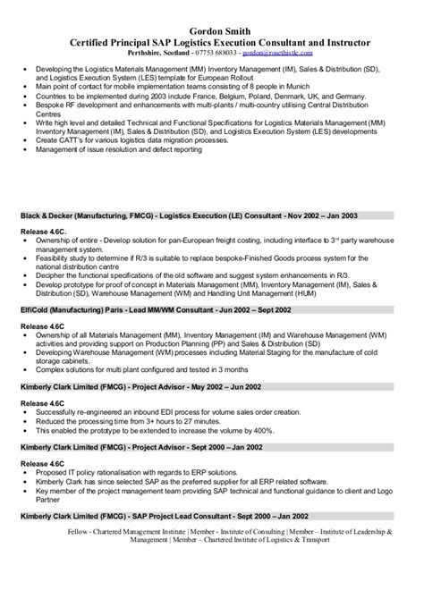 Project Consultant Sle Resume by Sap Hcm Resume Sle 28 28 Images Sle Hr Resumes