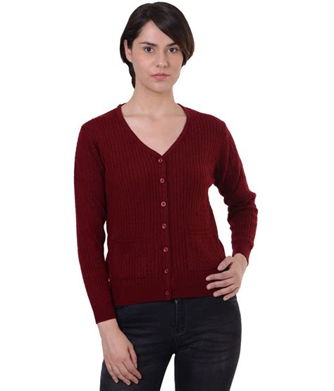Sweater King Maroon by Buy Sportking Maroon Acrylic Buttoned Cardigans At