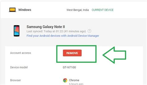 android remove account how to check which devices are signed into your account